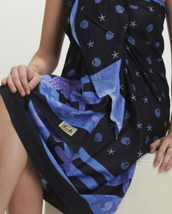 cotton sarong or pareo. seahorses and starfish. great beach coverup