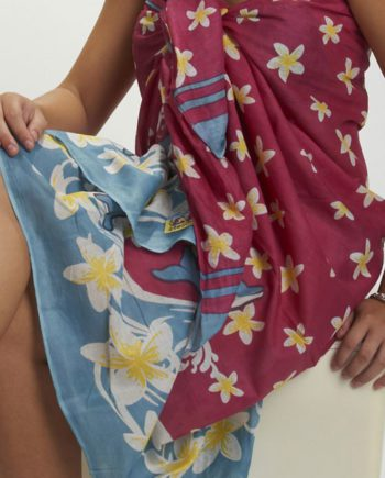 cotton sarong or beach wrap. dolphins and frangipanis. great beach coverup
