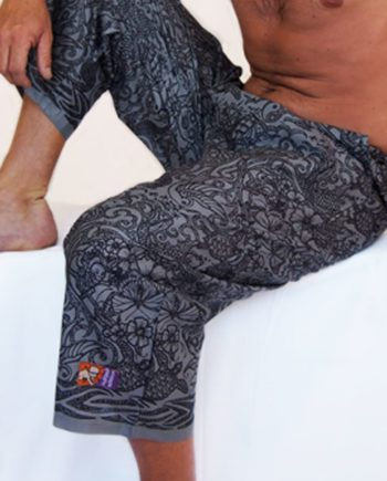 black and grey cotton beach pants with tattoos and sea creatures. great travel pants