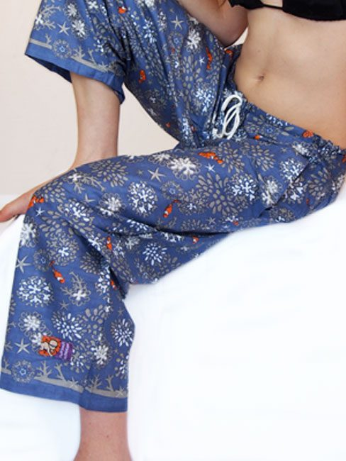steel blue cotton beach pants with coral and clown fish. great beach cover-up