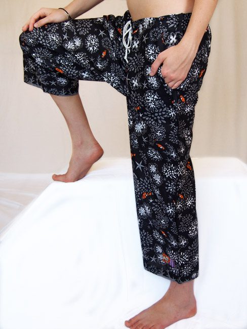 black and grey cotton beach pants with coral and clown fish. great beach cover-up