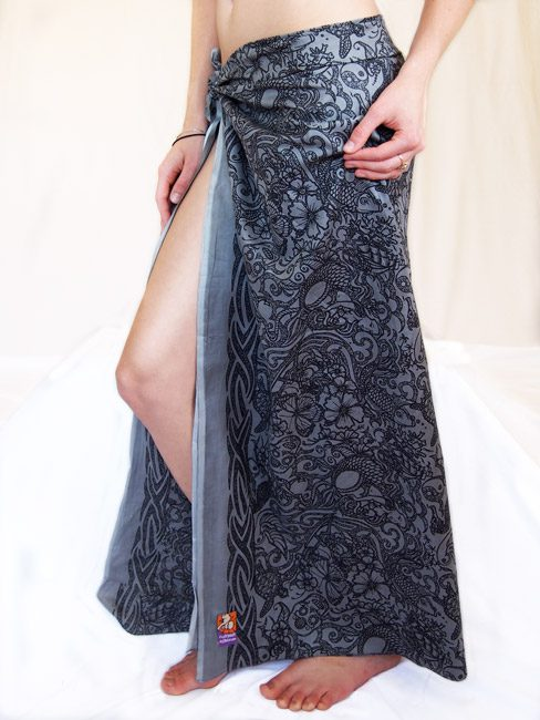 grey and black cotton sarong or pareo with tattoos and sea creatures. mens sarong