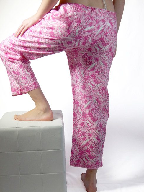 cherry and pink cotton beach pants with Kombi vans palm trees and surf boards great beach cover-up