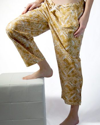 sandy brown cotton beach pants with Kombi vans palm trees and surf boards great beach cover-up
