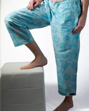 Turquoise cotton beach pants with turtles swimming over the wheel of life symbols great beach cover-up