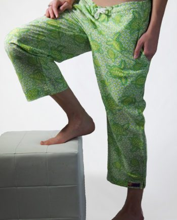 Lime cotton beach pants with turtles swimming over the wheel of life symbols great beach cover-up