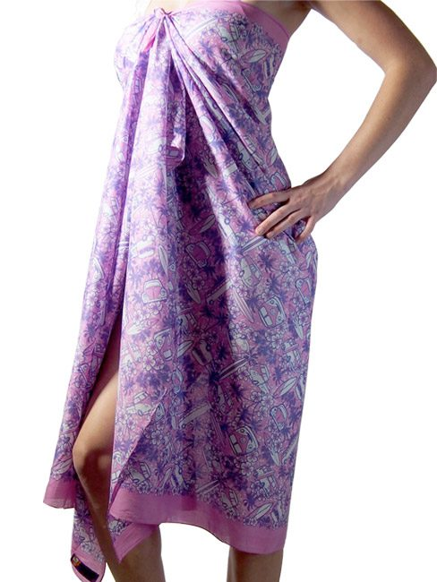 Orchid and purple cotton sarong or pareo with Kombi vans palm trees and surf boards