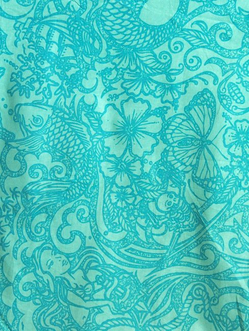 Turquoise cotton beach pants with tattoos and sea creatures. great beach cover-up