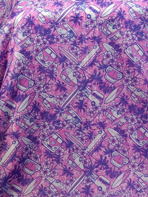 Orchid and purple cotton sarong or pareo with Kombi vans palm trees and surf boards. great beach cover-up