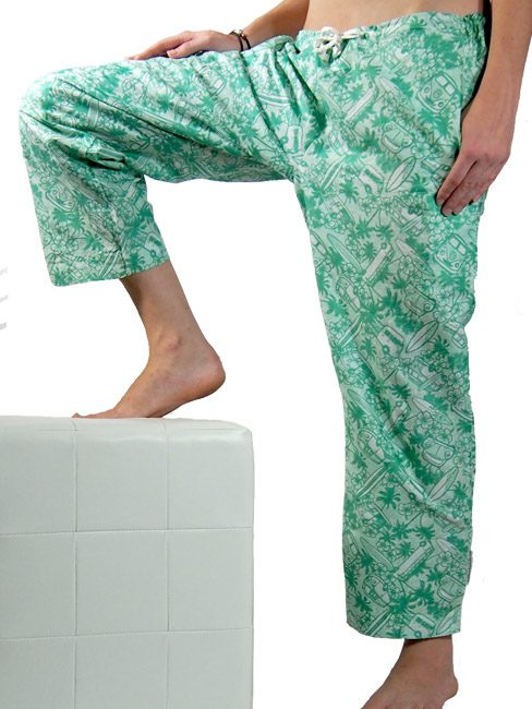 cotton beach pants. beachwear featuring kombis surfboards and palm trees as a beach cover up