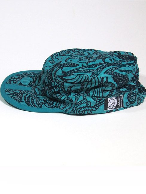 folding cotton sun cap with mermaids, tattoos and sea creatures. best travel cap