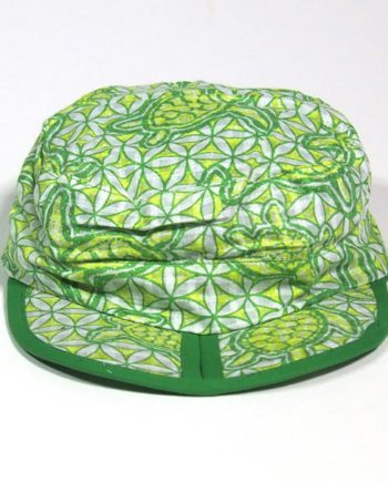 folding cotton sun cap with turtles swimming over ancient wheel of life symbols. best travel cap