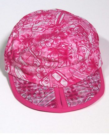 folding cotton beach cap with Kombi vans palm trees and surf boards. best travel cap