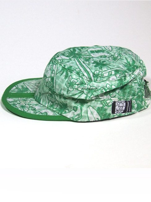 sage green cotton beach cap with Kombi vans palm trees and surf boards. best travel cap