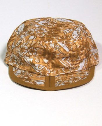 sandy brown cotton beach cap with Kombi vans palm trees and surf boards. best travel cap