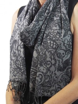 Tattoo Grey Cotton Scarf