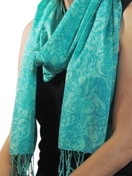 Tattoo Turquoise Cotton Scarf