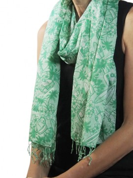 Combi Sage Cotton Scarf