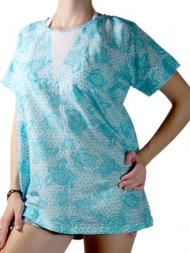 Turtle T2 Turquoise Cotton beach Top