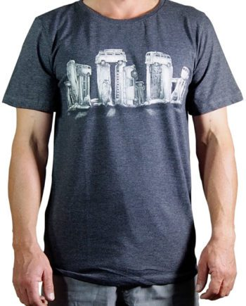 casual cotton t-shirt kombi stonehenge. stone henge made out of rusty kombi vans.
