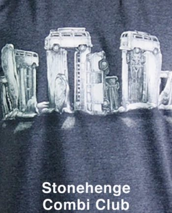 mens cotton t-shirt kombi stonehenge. stone henge made out of rusty kombi vans.