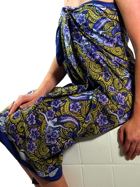 Mustard and purple cotton sarong or beach wrap with dreamy mermaid floating in a sea of hibiscus.
