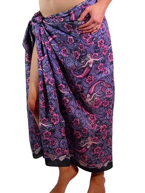 Purple cotton sarong or beach wrap with dreamy mermaid floating in a sea of hibiscus