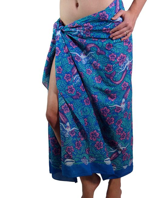 Royal blue and aqua cotton sarong or beach wrap with dreamy mermaid floating in a sea of hibiscus.