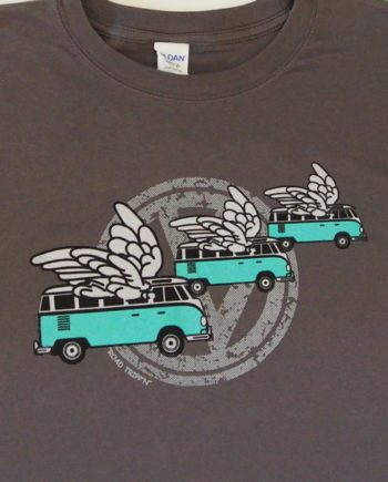 ens cotton t shirt printed in Australia by me with the flying kombi logo