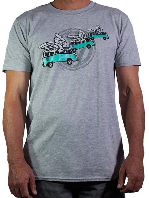 mens cotton t shirt printed in Australia by me with the flying kombi logo