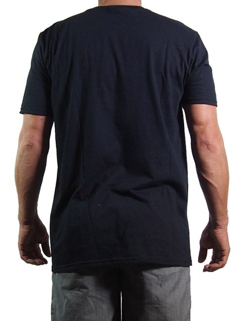 mens cotton t shirt printed in Australia with the Volkslager logo