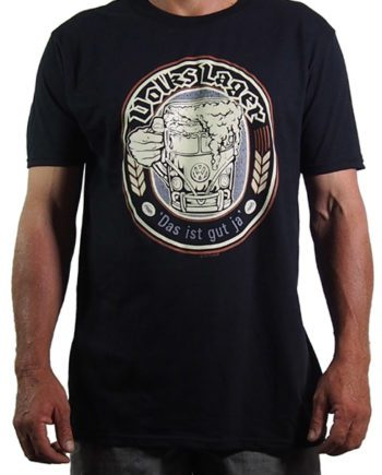 black mens cotton t shirt printed in Australia with the Volkslager logo