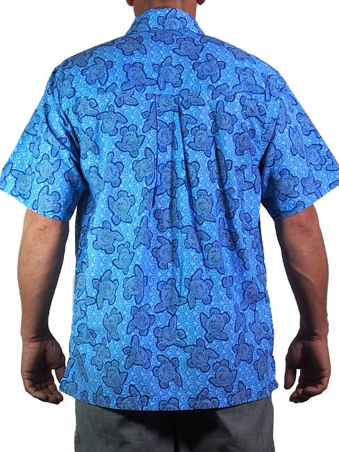 mens cotton shirt with turtles made out of shells swimming in the sea. summer cool