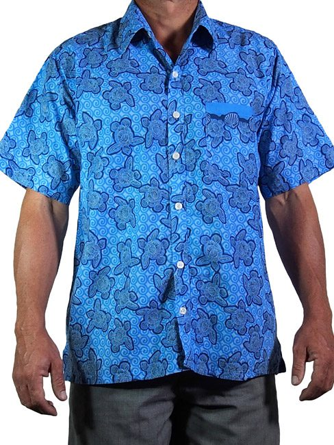 a8c3c58666fc7 mens cotton shirt with turtles made out of shells swimming in the sea.  summer cool