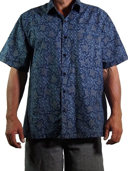 mens cotton button up shirt with turtles made out of shells swimming in the sea. summer cool