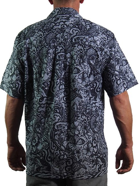 black and grey mens cotton shirt with tattoos and sea creatures. summer cool