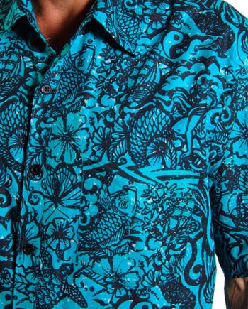 black and jade mens cotton shirt with tattoos and sea creatures. summer cool